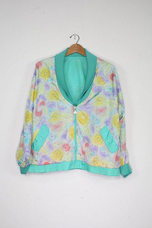 90s Pastel Floral Track Jacket - L/XL