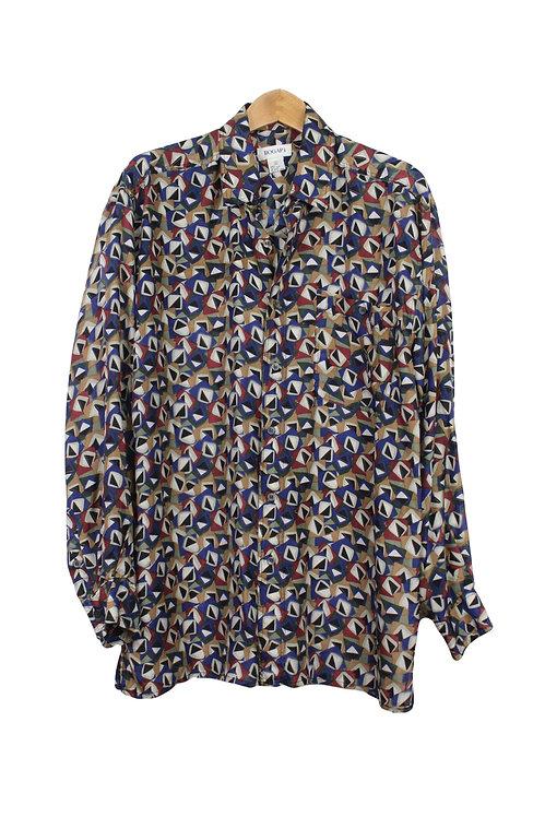 90s Abstract Geometric Silk Shirt - L