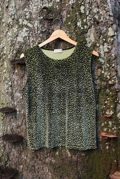 90s Lime Green Velvet Cheetah Print Tank