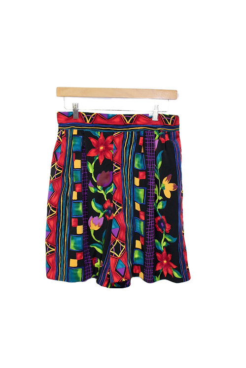 90s Bold Floral Loose Shorts - M/L