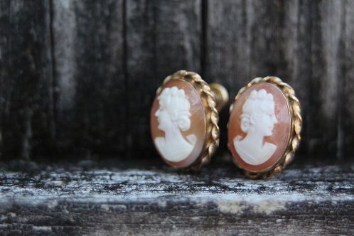 Van Dell 12K GF Cameo Earrings