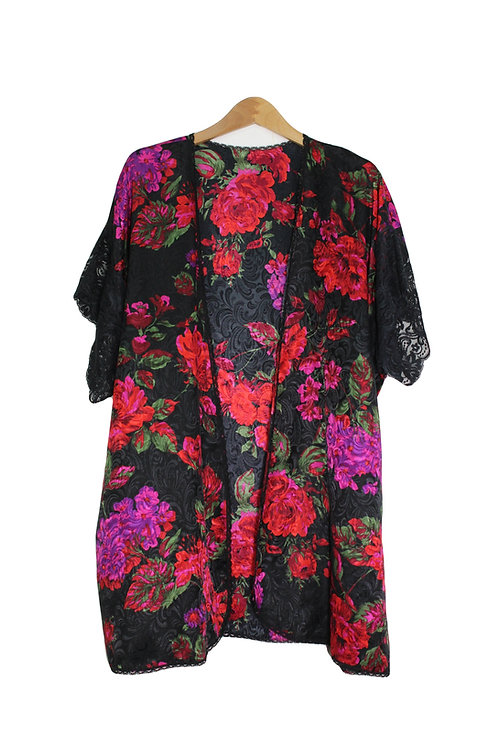 90s Embossed Floral Robe - OS