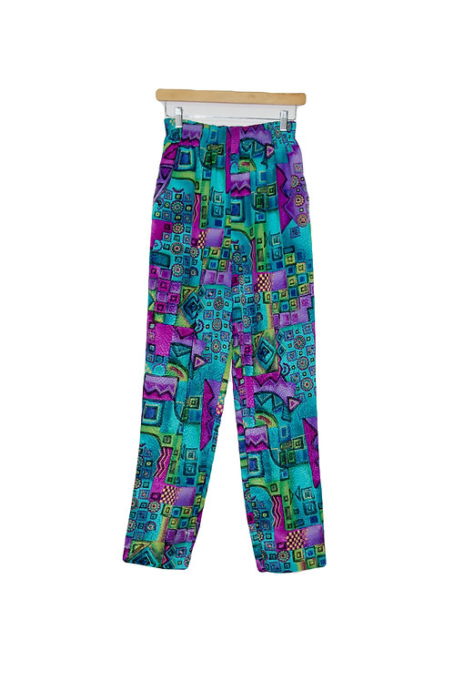90s Vibrant Abstract Pants - S/M