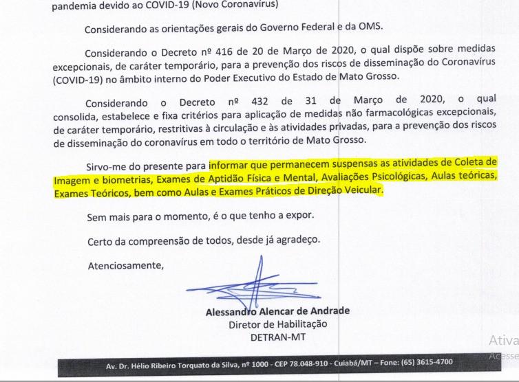 COMUNICADO DIRETOR DE HABILITAÇAO PARA CFC s DO ESTADO