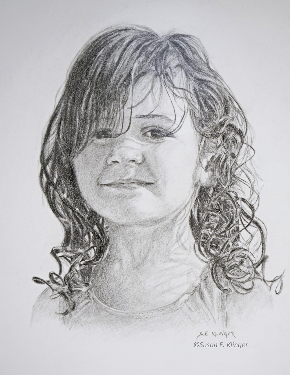 Portrait drawing in graphite pencil of little girl with curls
