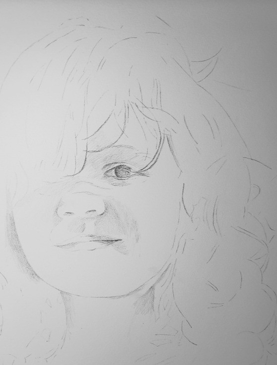 The first stage of the portrait drawing