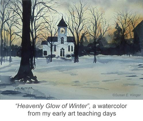 Heavenly Glow of Winter, watercolor