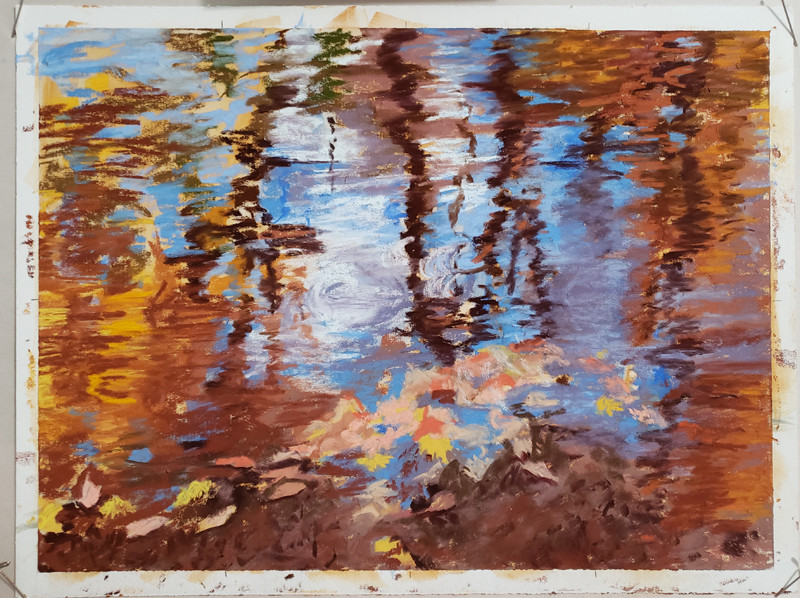 Pastel painting of Evansburg Reflections, showing progress