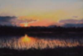 Illustrious the Passing Light, pastel painting, landscape, sunset, green lane park