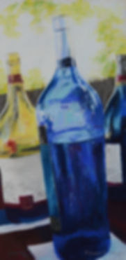 Vino Alfresco, pastel, wine bottles
