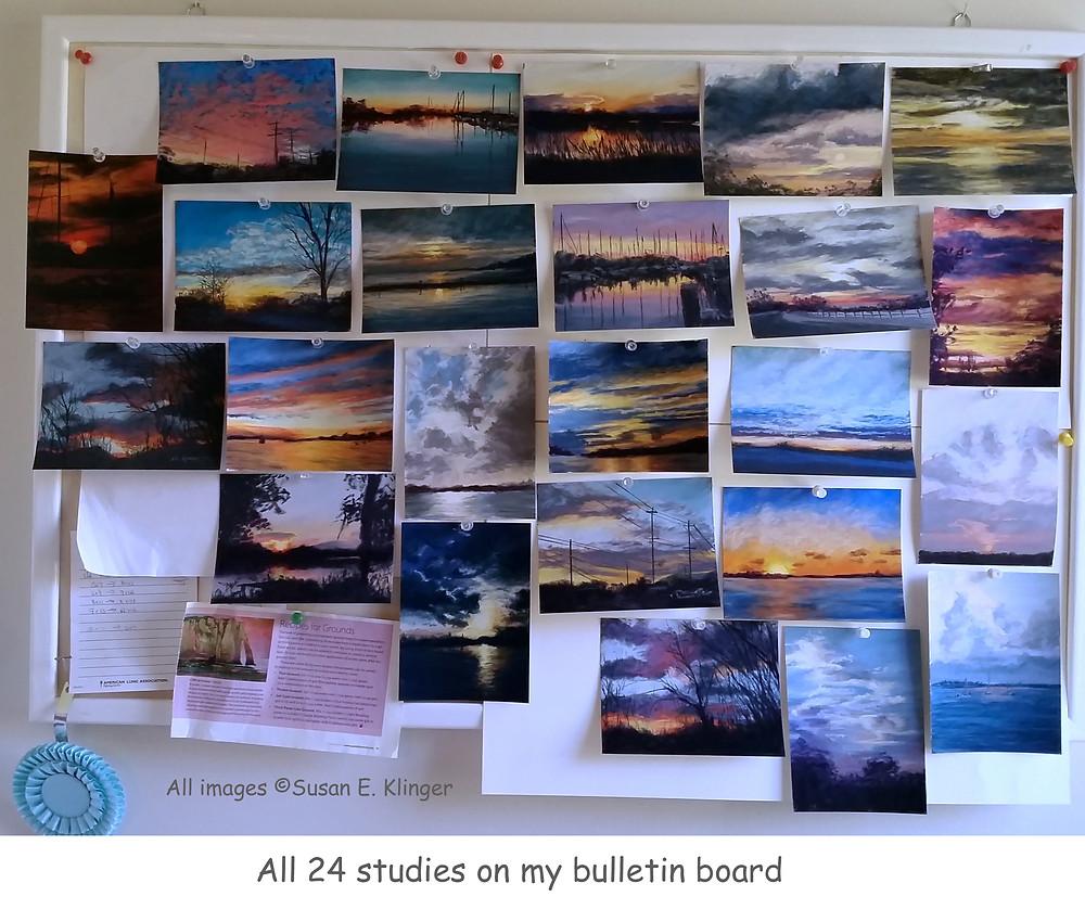 24 completed sky studies in pastel