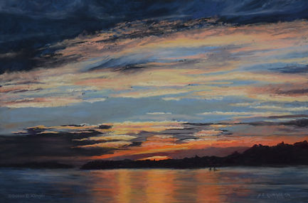 Mariner's Sunset, pastel, painting, sunset