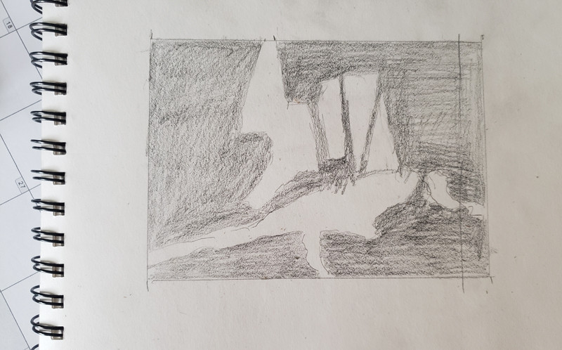 Value sketch to show the composition of shapes