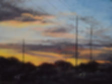 Suburban Sunrise, Pastel painting