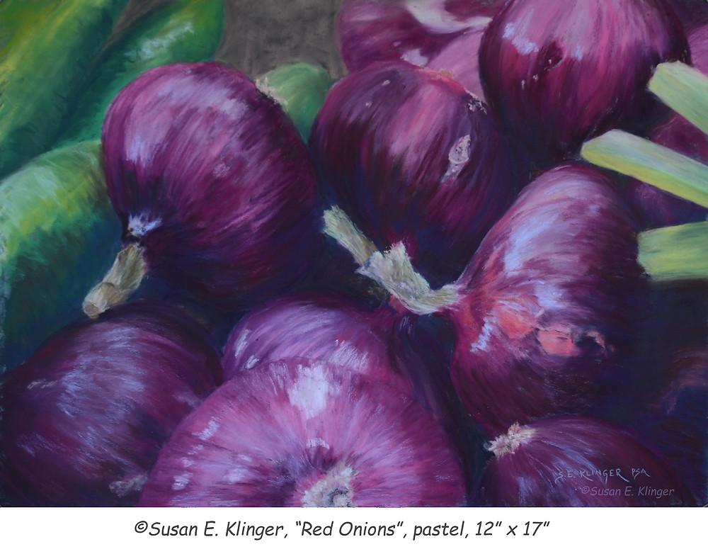 """© Susan E. Klinger, """"Red Onions"""", pastel"""