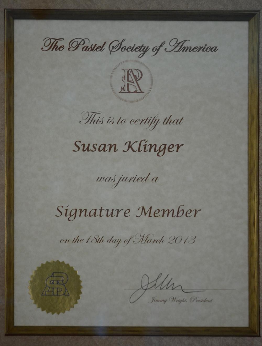 Pastel Society of America signature membership