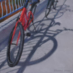 Tour de Soleil, pastel painting, bicycles, shadows
