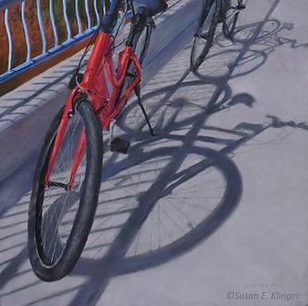 Tour de Soleil, pastel painting, bicycles, shadows