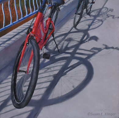 Pastel painting of bicycles, Tour de Soleil, Artist Susan Klinger