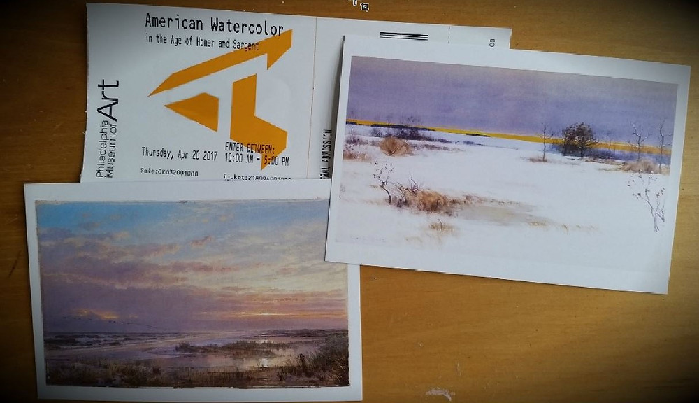 My ticket and a few postcard examples