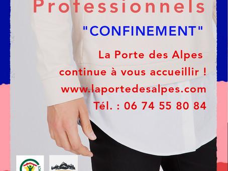 Professionnels, La Porte des Alpes vous accueille durant le confinement !