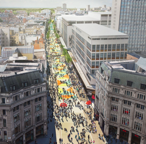 How Oxford Street might look after pedestrianisation.
