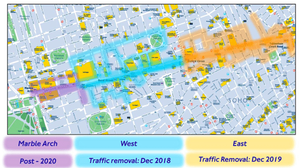 A map showing the stages in which Oxford Street will be pedestrianized.