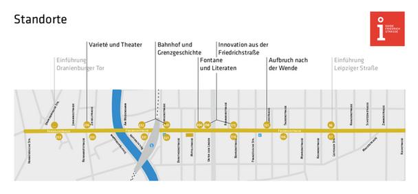 Guide Friedrchstraße Standorte für die Hinweistafeln