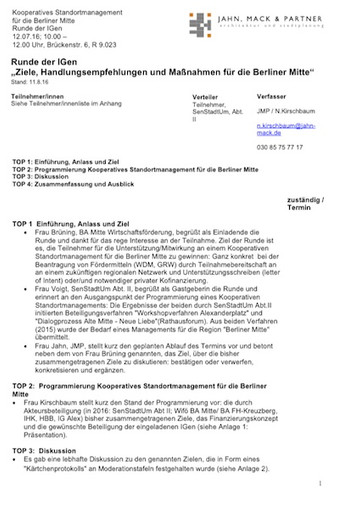 Cover Protokoll Runde der IG
