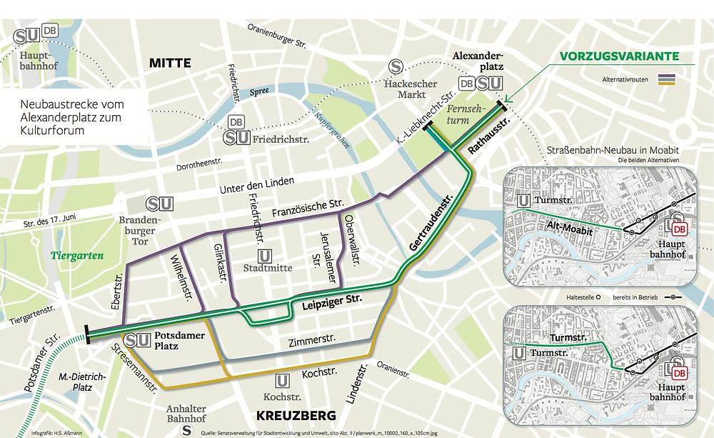(Bereits seit längerem in der Diskussion: Verlängerung der TRAM über die Leipziger Str.)