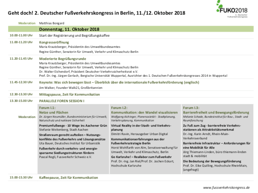 Agenda Fußverkerkskongress 2018 - DIE MITTE e.V