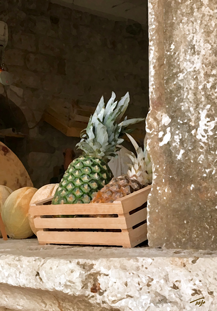 Pineapple and Melon in Crate
