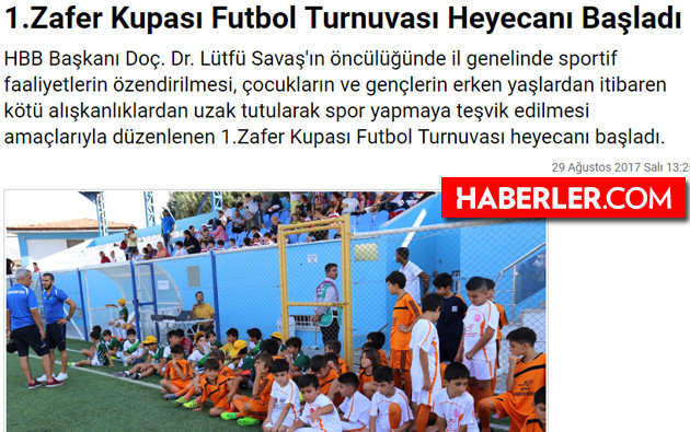 zafer kupası futbol turnuvası haberi