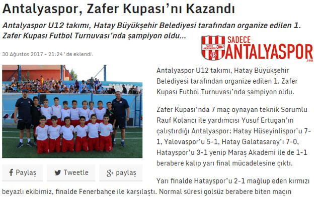 Antalyaspor zafer kupasını kazandı haber