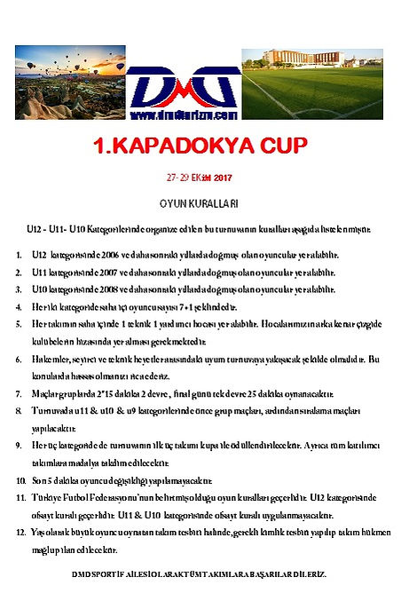 Kapadokya Cup Oyun Kuralları