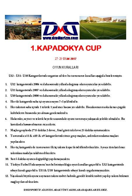 Kapadokya Cup Turnuva Oyun Kuralları