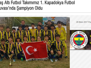12 Yaş Altı Futbol Takımımız 1. Kapadokya Futbol Turnuvası'nda Şampiyon Oldu