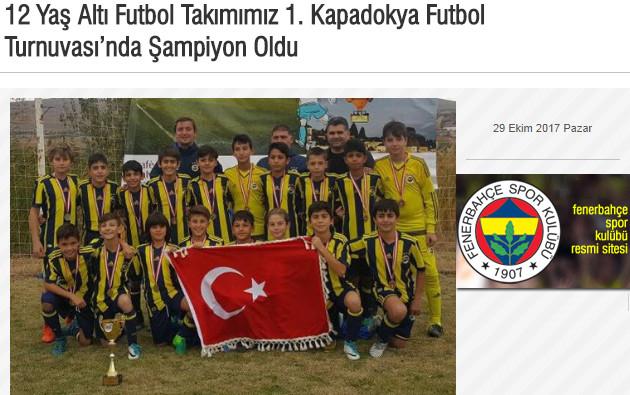 12 yaş altı futbol takımımız 1.Kapadokya Futbol Turnuvasında Şampiyon oldu haberi
