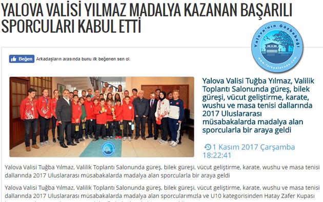 Yalova Valisi Yılmaz Madalya Kazanan Başarılı Sporcuları Kabul Etti