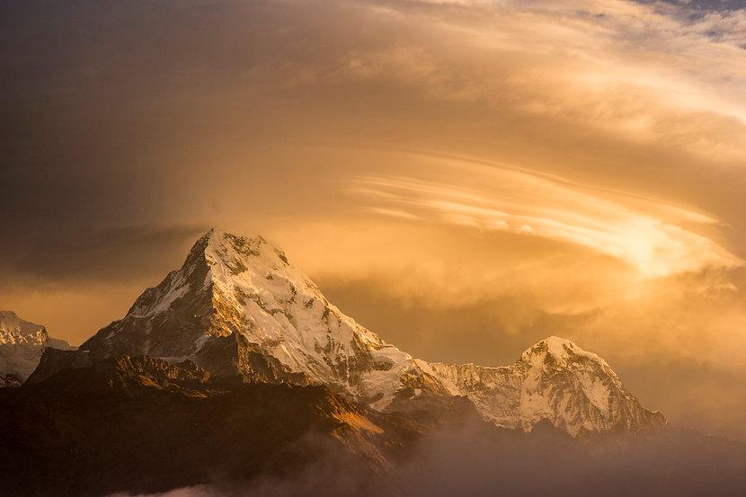 Annapurna Massif mountains at sunset, Nepalese Himalaya