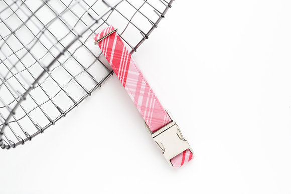 Pink Ombré Plaid Dog Collar