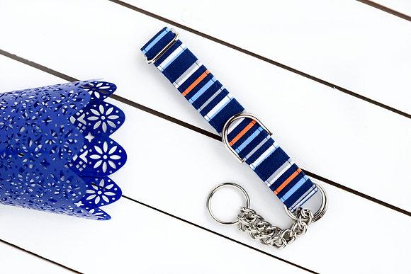 Navy Striped Dog Collar