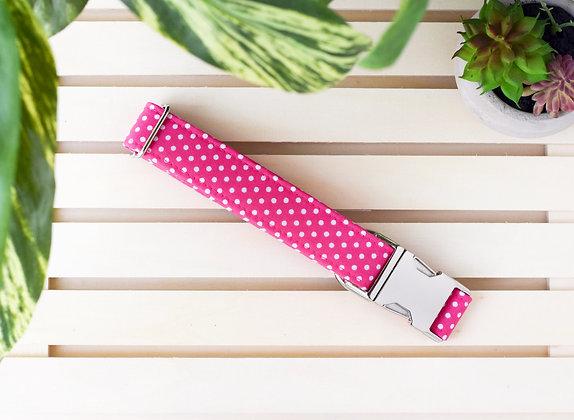 Hot Pink Polka Dot Dog Collar