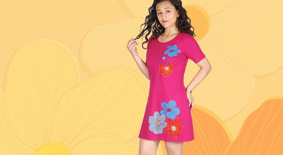 Women's designer dress in floral hand screen print. Fair and handmade haute couture from Kathmandu, Nepal.
