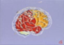 Brain_13x18cm_Acrylic,_Silver_Leaf,_Pain