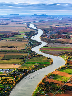 Curved Richelieu river close to Saint-Ours-sur-Richelieu, Quebec, Canada