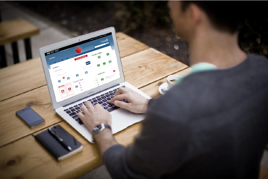 job seeker on computer