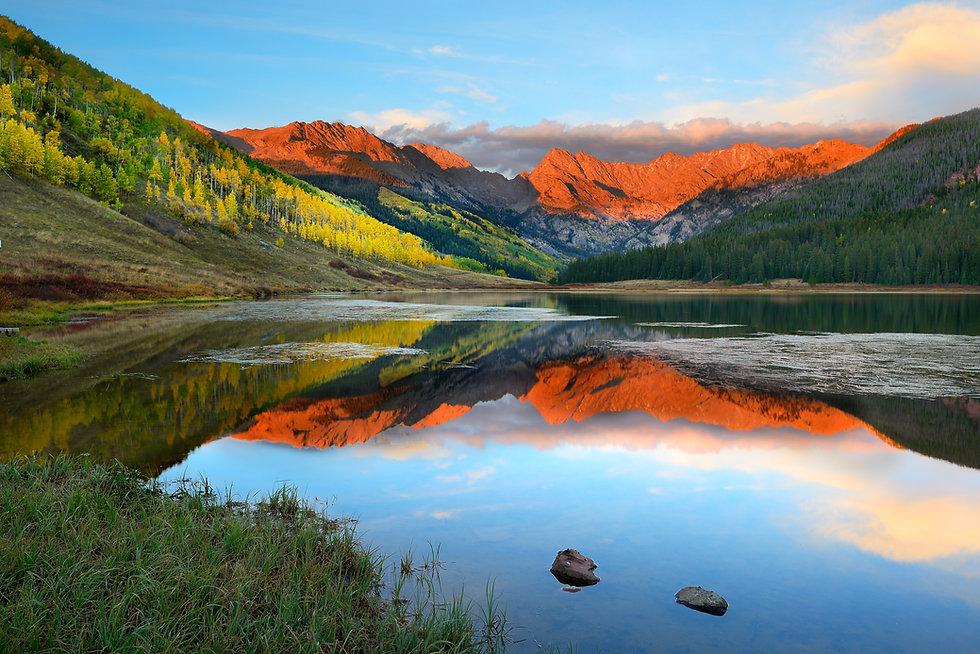 Alpenglow at sunset, Piney Lake, Vail, C