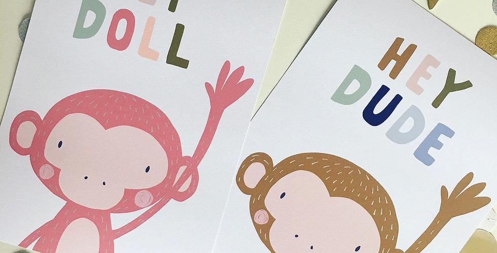Waving monkey print