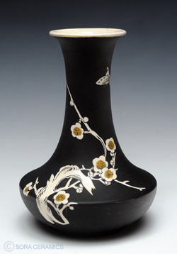 Satsuma vase, black matte finish